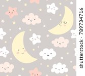 Stock vector night sky vector pattern cute smiling moon stars clouds seamless background baby print in soft 789734716