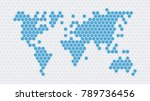 honeycomb world map | Shutterstock .eps vector #789736456