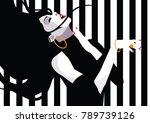 the dancing girl in style pop... | Shutterstock .eps vector #789739126