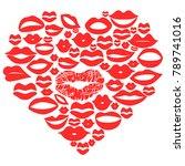red lips set in heart vector   | Shutterstock .eps vector #789741016