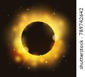 eclipse on bright glossy star... | Shutterstock . vector #789742642