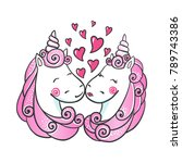 cute hand drawn unicorns in... | Shutterstock .eps vector #789743386