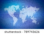 hi tech pixelated world map on... | Shutterstock . vector #789743626