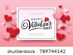 happy valentine's day romance... | Shutterstock .eps vector #789744142