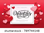 happy valentines day romance... | Shutterstock .eps vector #789744148