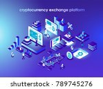Cryptocurrency and blockchain isometric composition with people, analysts and managers working on crypto start up. Isometric vector illustration. | Shutterstock vector #789745276
