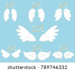 cute angel wings with nimbus.... | Shutterstock .eps vector #789746332