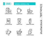 line icons about drinks  coffee ... | Shutterstock .eps vector #789749422