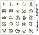 baby line icons set boat and... | Shutterstock .eps vector #789749932