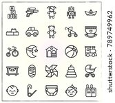 baby line icons set water and... | Shutterstock .eps vector #789749962