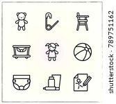 baby line icons set diaper and...   Shutterstock .eps vector #789751162
