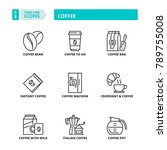 line icons about coffee | Shutterstock .eps vector #789755008