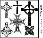 set of six black crosses | Shutterstock .eps vector #78975784