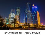 Stock photo the skyline of the modern and high rising city of doha in qatar middle east doha s corniche in 789759325