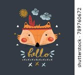 cute indian baby fox hand drawn ... | Shutterstock .eps vector #789760672