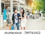 asian couple enjoying romance... | Shutterstock . vector #789761422