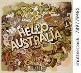 hello australia country hand... | Shutterstock .eps vector #789779482