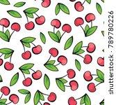ripe and juicy cherries on... | Shutterstock .eps vector #789780226