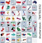 all asian maps mixed with flags....   Shutterstock .eps vector #789781552