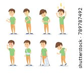 symptoms with man set on white... | Shutterstock . vector #789787492