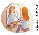 young cartoon woman looks in...   Shutterstock .eps vector #789790642
