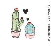 cute cactus illustration.... | Shutterstock .eps vector #789790648