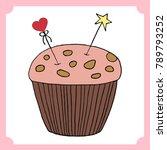 vector cupcake illustration.... | Shutterstock .eps vector #789793252