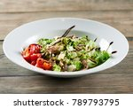 a white bowl on the wooden...   Shutterstock . vector #789793795