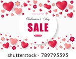valentines day sale background... | Shutterstock .eps vector #789795595