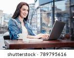 online communication. cheerful... | Shutterstock . vector #789795616