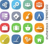 flat vector icon set   gear... | Shutterstock .eps vector #789805102