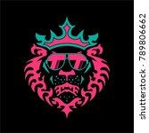 crown lion logo  | Shutterstock .eps vector #789806662