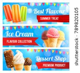 ice cream 3d summer dessert... | Shutterstock .eps vector #789820105