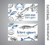 seafood cards vector template... | Shutterstock .eps vector #789820192