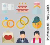 icon set about wedding with...   Shutterstock .eps vector #789823366