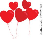 red hearts as ballons on white... | Shutterstock .eps vector #789825178