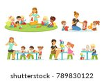 teacher explaining alphabet to... | Shutterstock .eps vector #789830122