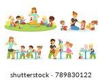 teacher explaining alphabet to... | Shutterstock .eps vector #789830122