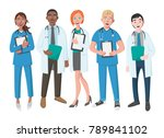 team of good doctors on a white ... | Shutterstock .eps vector #789841102