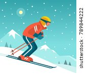 skiing in the mountains. vector ... | Shutterstock .eps vector #789844222