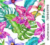 tropical seamless pattern... | Shutterstock . vector #789845998
