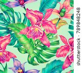 exotic flowers  jungle leaves ... | Shutterstock . vector #789848248