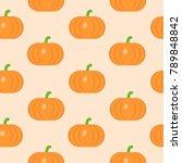 seamless pattern with pumpkin...   Shutterstock .eps vector #789848842