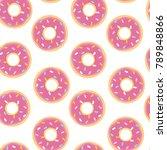 seamless pattern with doughnut...   Shutterstock .eps vector #789848866