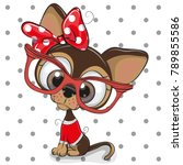 Stock vector cute cartoon puppy with red glasses on a dots background 789855586