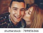 closeup of girl kissing her...   Shutterstock . vector #789856366