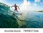 young surfer rides the wave.... | Shutterstock . vector #789857266