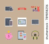 icon set about shopping with... | Shutterstock .eps vector #789858256