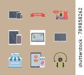 icon set about shopping with... | Shutterstock .eps vector #789858262