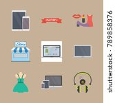 icon set about shopping with... | Shutterstock .eps vector #789858376